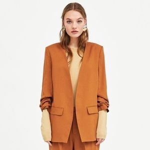 ZARA Camel Blazer with Gathered/Rouched Sleeves